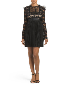 Juniors Lace Ruffle Top Dress