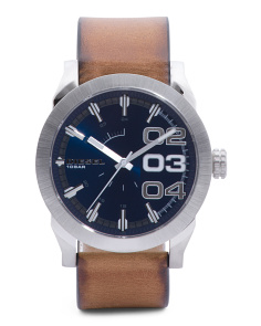 Men's Double Down 2.0 Leather Band Watch