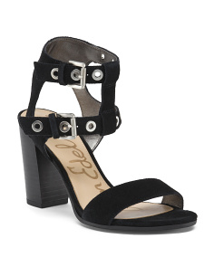 Suede Buckle Strap Heel Sandals