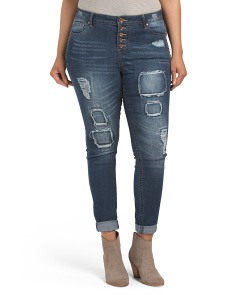 Plus Juniors Destructed Denim Jeans