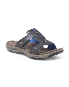 Adjustable Slide Sandals With Leather Upper