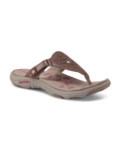 Cushioned Thong Sandals With Leather Upper