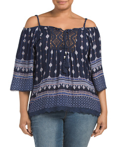 Plus Juniors Cold Shoulder Printed Top