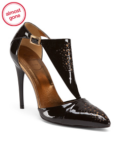 Made In Italy T Strap Patent Leather Pumps