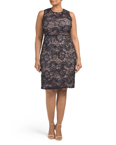 Plus Short Sequin Lace Dress