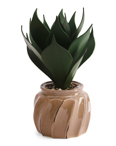 19in Faux Agave In Ceramic Pot