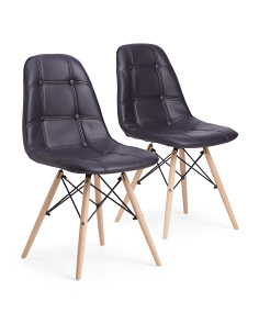 Set 2 Eiffel Chairs With Wood Legs