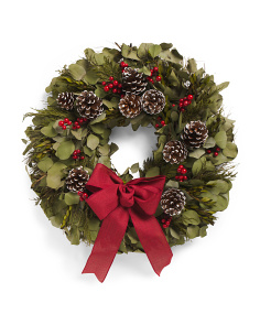 22in Preserved Pinecone And Berry Holiday Wreath