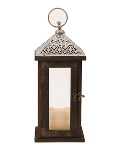 14in Wood And Metal LED Lantern