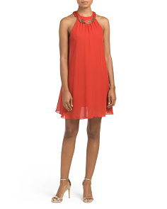 Juniors Necklace Trapeze Dress
