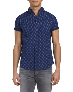 Geo Print Button Down Short Sleeve Shirt