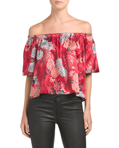 Juniors Made In USA Off The Shoulder Printed Top