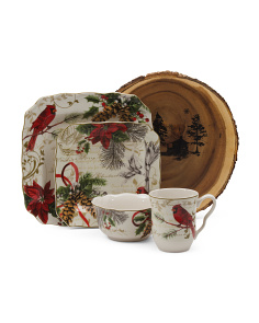 17pc Holiday Wishes Dinnerware Set