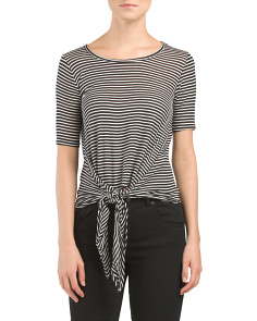 Juniors Made In Usa Stripe Knotted Top