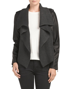Juniors Faux Leather Drape Jacket