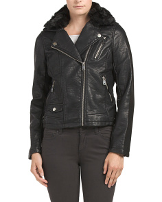 Juniors Faux Leather Moto Jacket
