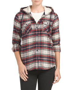 Juniors Sherpa Hood Flannel Shirt