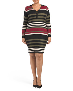Plus Juniors Striped Zip Dress