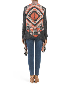 Juniors Aztec Open Drape Cardigan