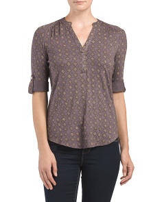 Printed Mandarin Collar Top