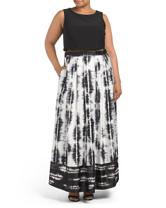 Plus Made In USA Popover Printed Gown