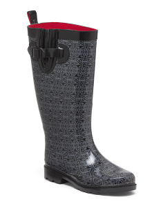 Printed Rain Boots With Buckle