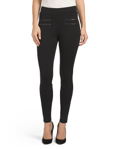 Juniors Double Zip Ponte Pants