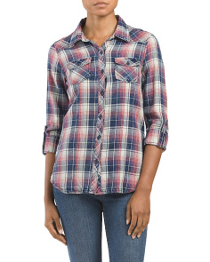 Juniors Washed Out Plaid Front Top