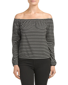Juniors Stripe Off The Shoulder Top
