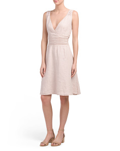 Made In Italy Linen Pintuck Dress