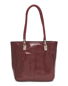 Braided Handle Leather Tote