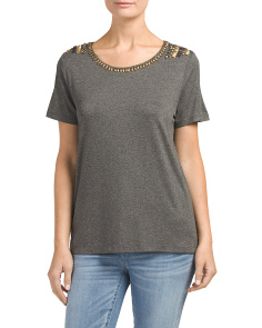 Jewel Embellished Neck Top