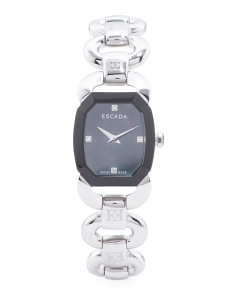 Women's Swiss Made Charlene Black Mother Of Pearl Dial Watch