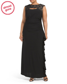 Plus Cut Out Drape Neck Gown