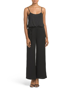 Juniors Wide Leg Dressy Jumpsuit