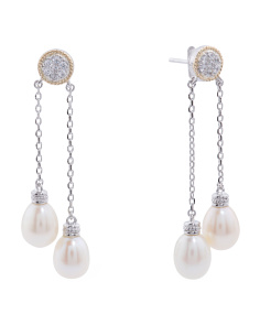 14k Gold And Sterling Silver Pearl Dangle Earrings