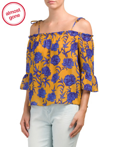 Juniors Off The Shoulder Floral Top