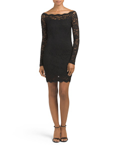 Juniors Lace Scalloped Dress