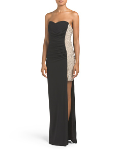Juniors Made In USA Strapless Embellished Gown