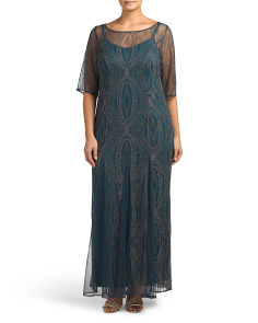 Plus Beaded Column Gown