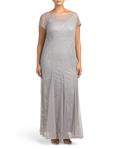 Plus Illusion Beaded Gown