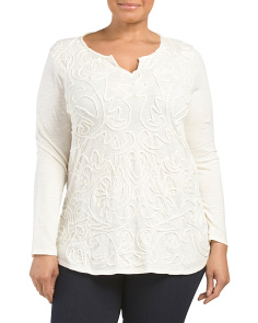 Plus Soutache Split Neck Top