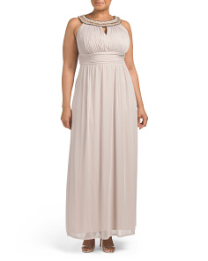 Plus Beaded Neck Keyhole Shirred Waist Gown