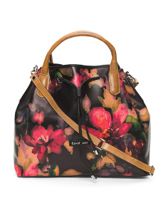 Made In Italy Leather Floral Leather Hobo