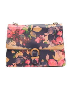 Made In Italy Floral Leather Bag