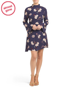 Juniors Long Sleeve Floral Dress