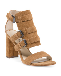 Open Toe Leather Heels With Buckles