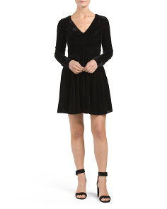 Juniors Velvet Long Sleeve Dress