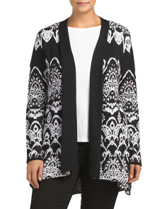 Plus Patterned Long Cardigan
