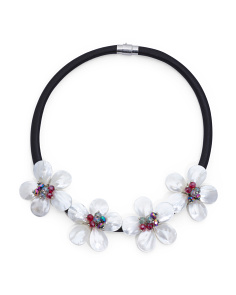 Mother Of Pearl Flower Collar Necklace